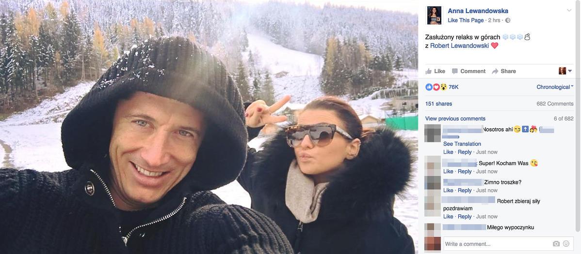 Robert Lewandowski, Anna Lewandowska wypoczywają w górach