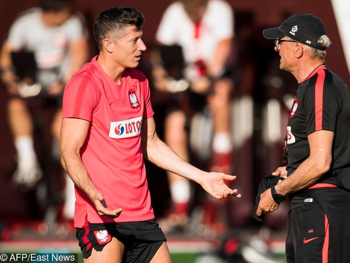 Robert Lewandowski i Adam Nawałka na treningu kadry przed meczem z Kolumbią
