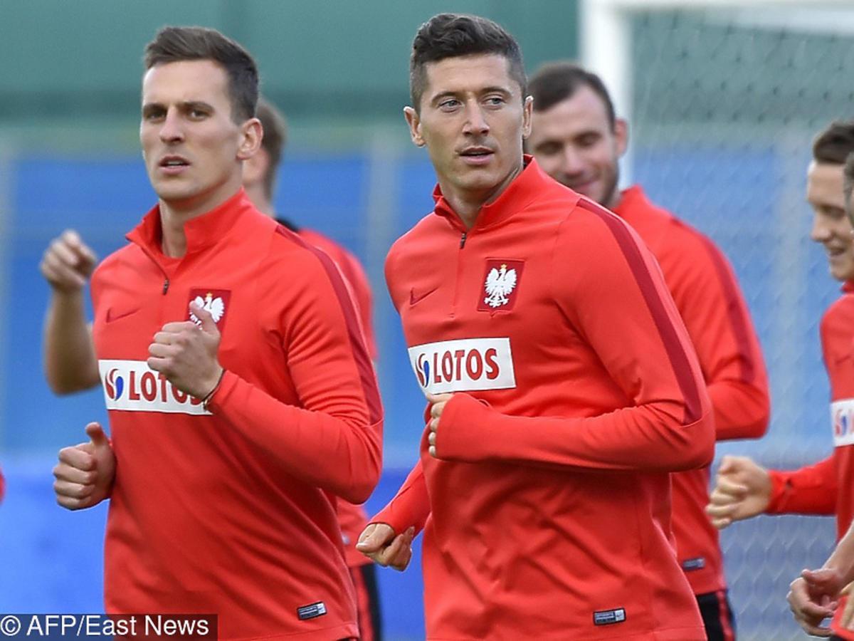 Robert Lewandowski i Arek Milik na treningu przed meczem z Kolumbią