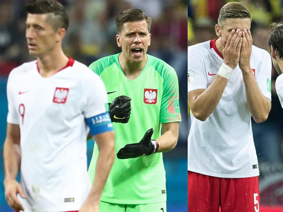 Robert Lewandowski i Wojciech Szczęsny, Grzegorz Krychowiak podczas meczu z Kolumbią