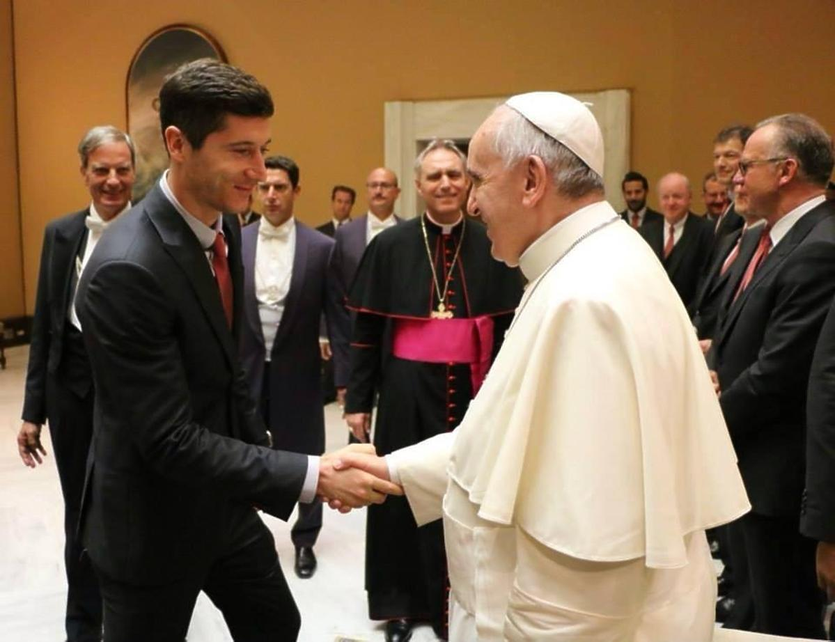 Robert Lewandowski na audiencji u papieża