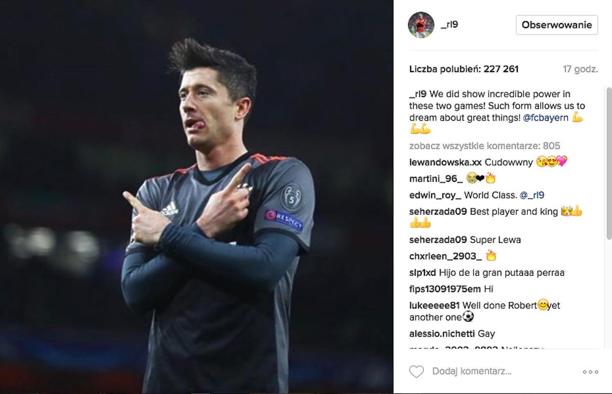 Robert Lewandowski na Instagramie