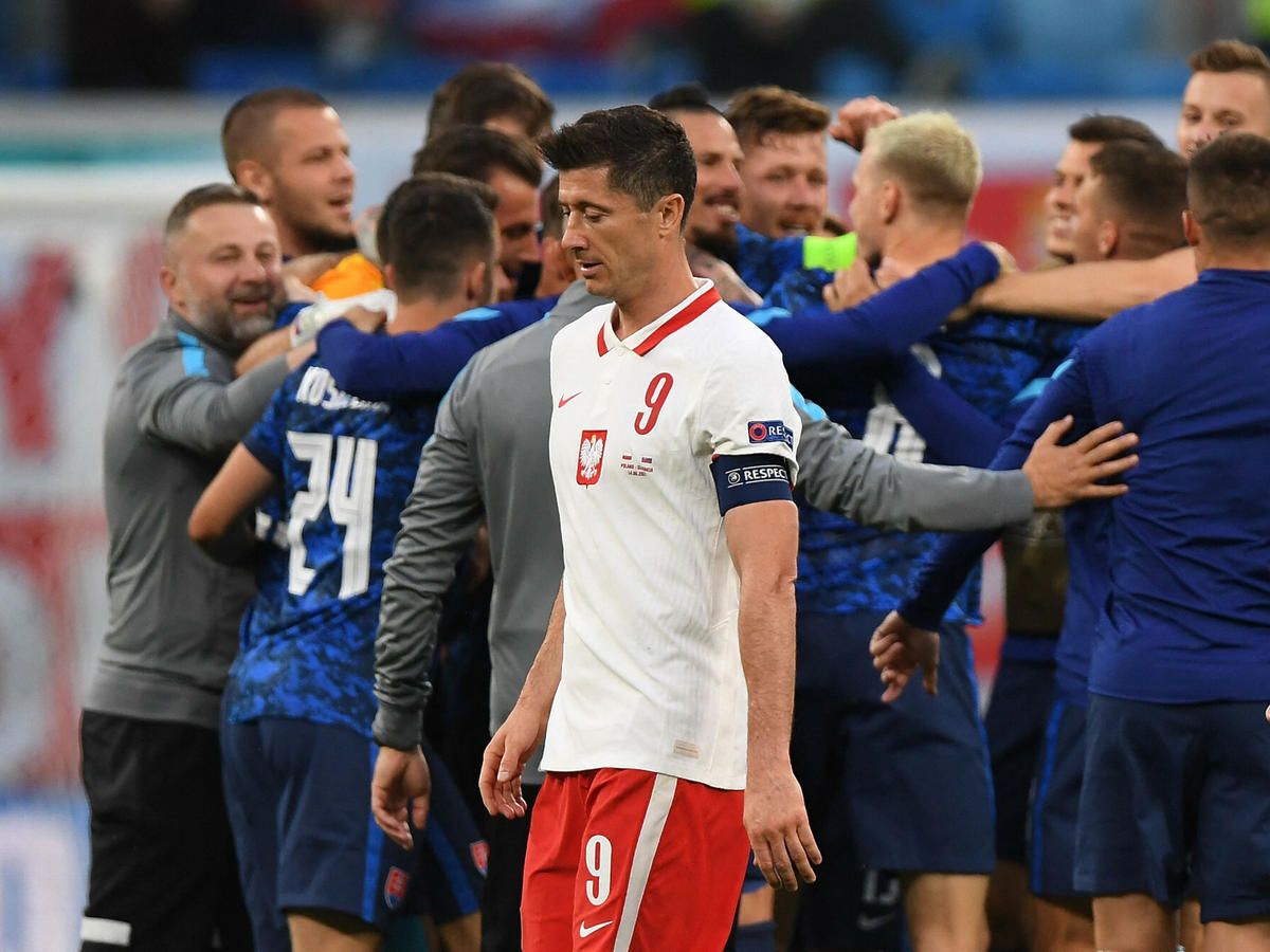 Robert Lewandowski na meczu Polska-Słowacja