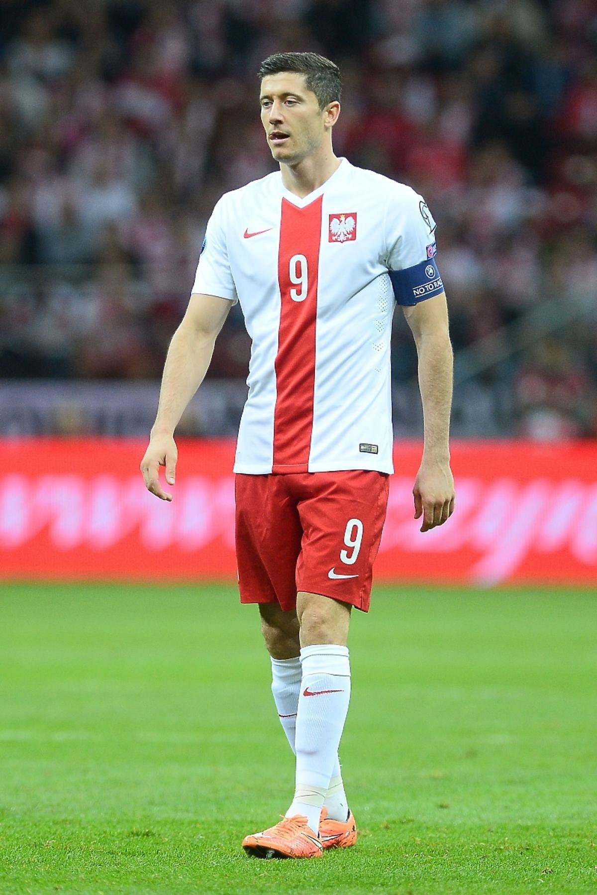 Robert Lewandowski na meczu Polska-Szkocja na Stadionie Narodowym