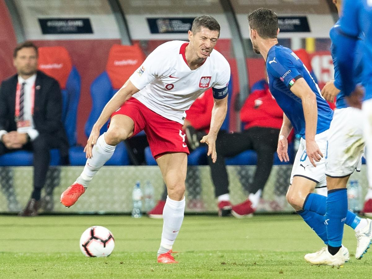 Robert Lewandowski na meczu Polska-Włochy