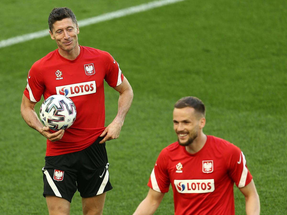 Robert Lewandowski na treningu reprezentacji Polski na UEFA Euro 2020 (2021)