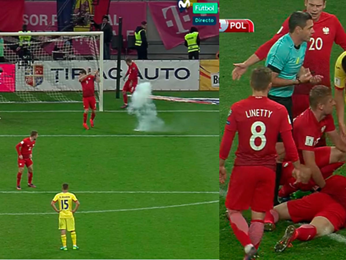 Robert Lewandowski ogłuszony petardą na meczu Rumunia - Polska