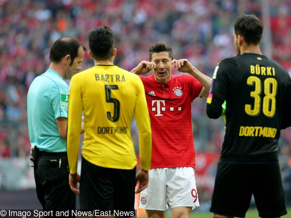 Robert Lewandowski podczas meczu Bayern - Borussia