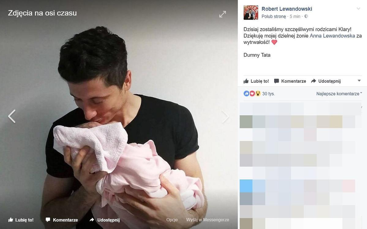 Robert Lewandowski pokazał zdjęcie z córką