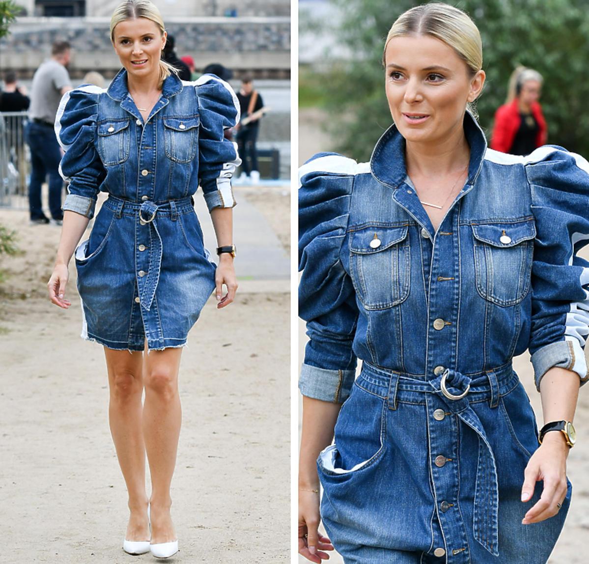 Halina Mlynkova w jeansowej sukience