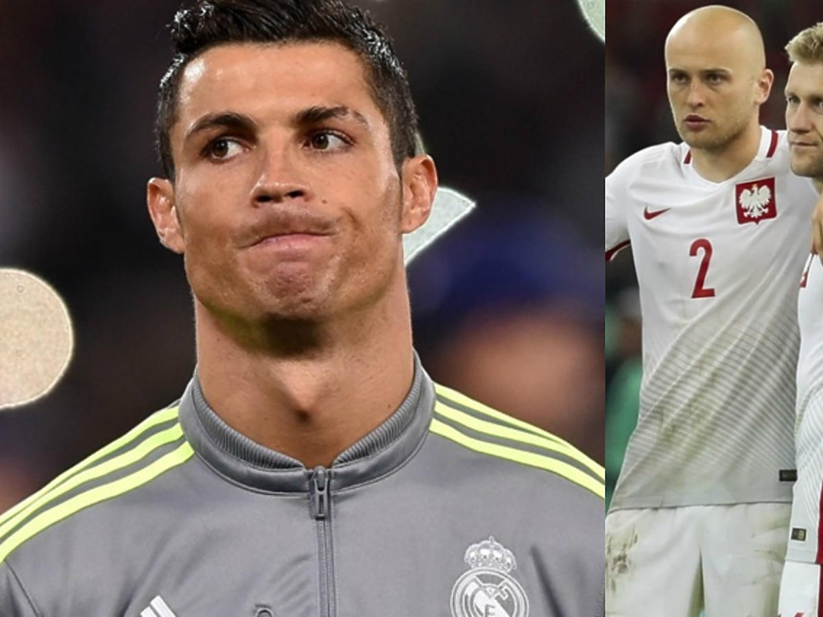 Ronaldo i polscy piłkarze Polska - Portugalia na Euro 2016