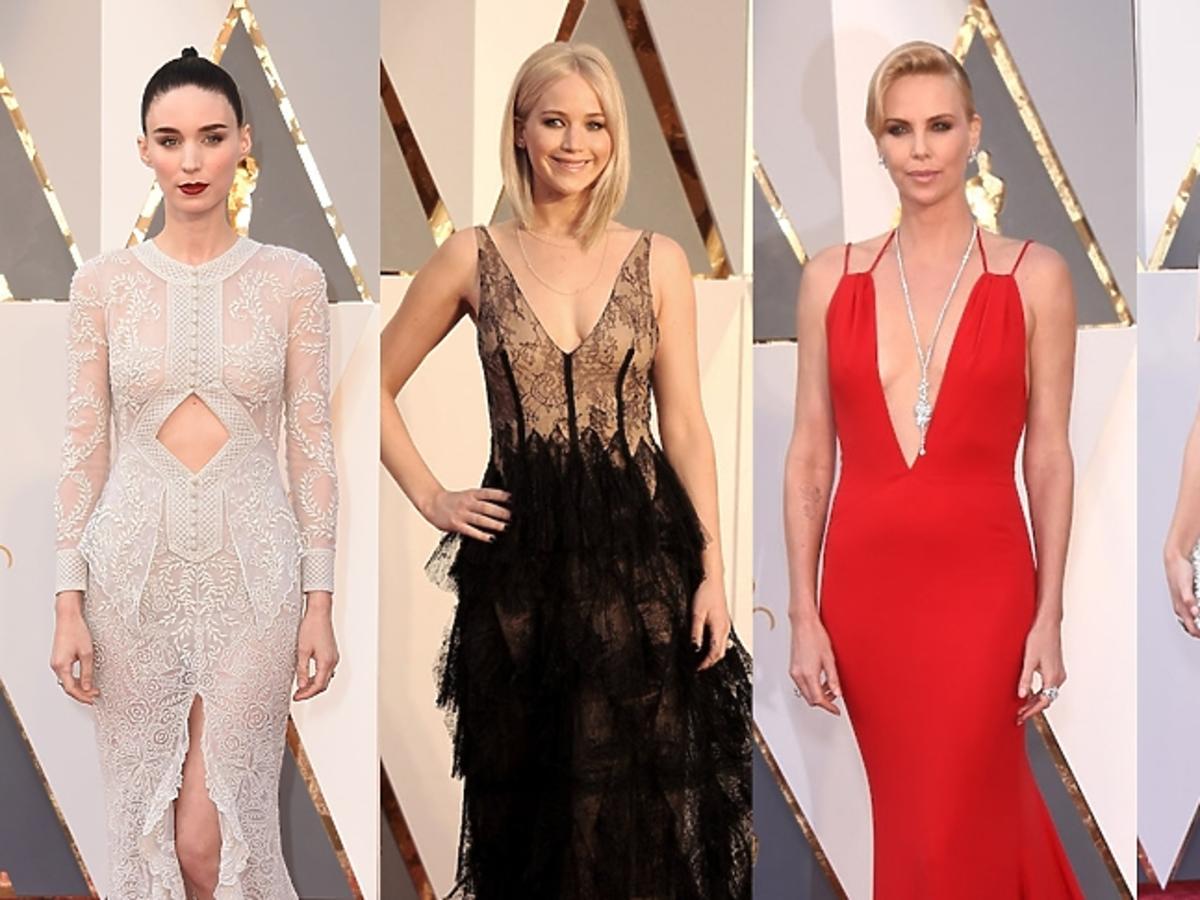 Rooney Mara, Jennifer Lawrence, Charlize Theron, Olivia Wilde w pięknych sukniach