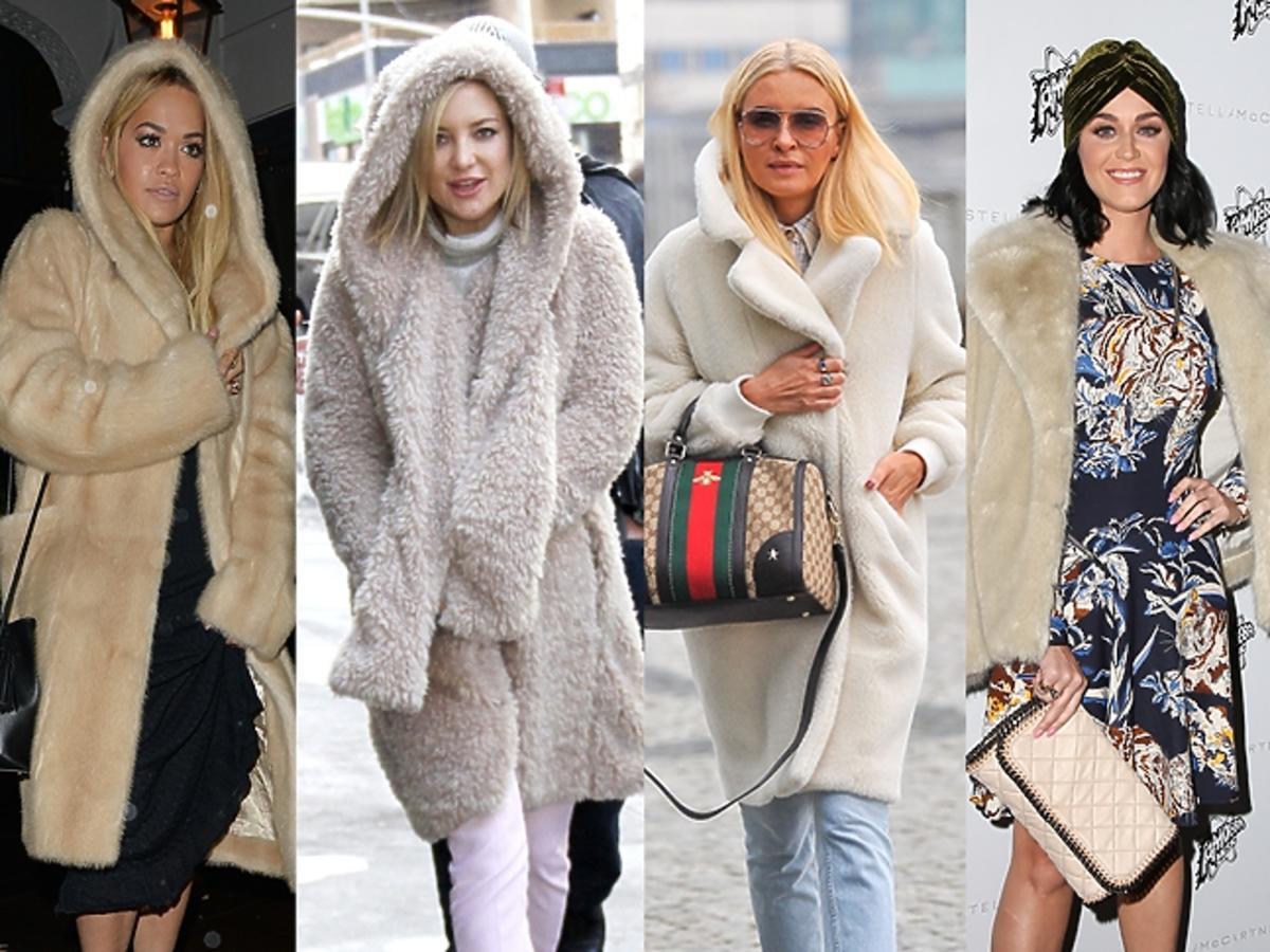 Rooney Mara, Katy Perry,Kate Hudson, Joanna Horodyńska, Rita Ora w puszystych jasnych płaszczach z futra