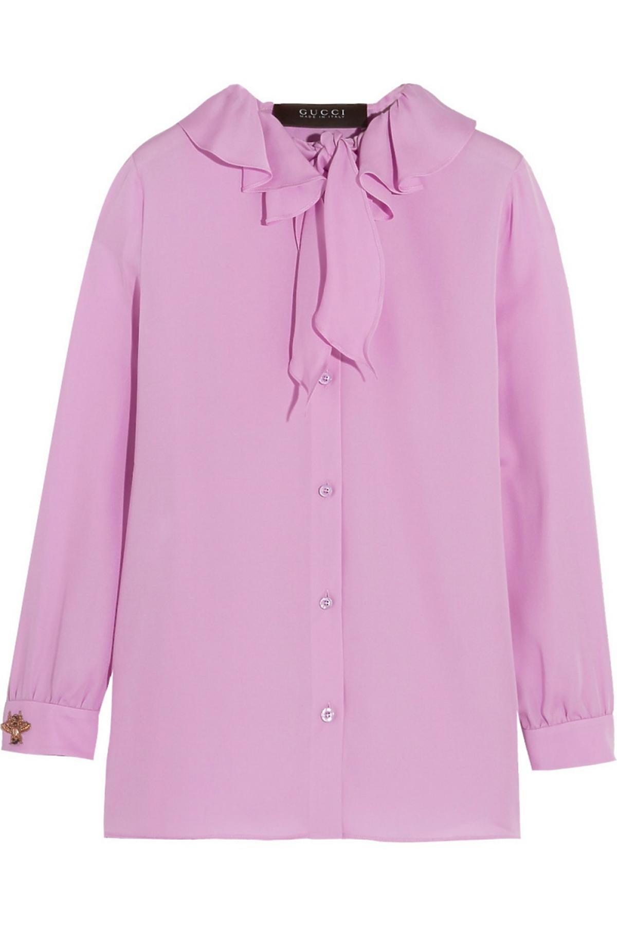 Różowa koszula Gucci z kokardą