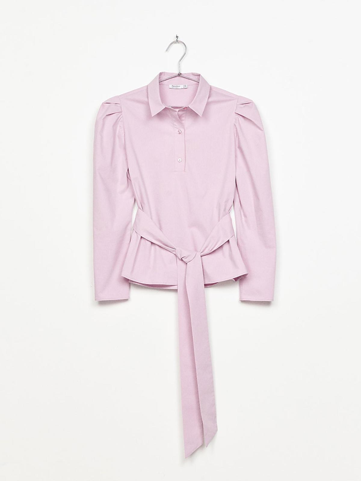 Różowa koszula z bufiastymi rękawami