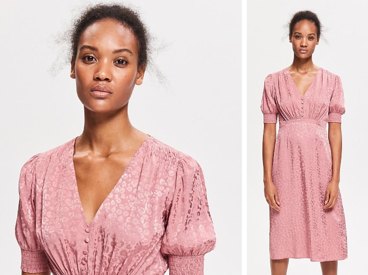 różowa sukienka na guziki retro Reserved