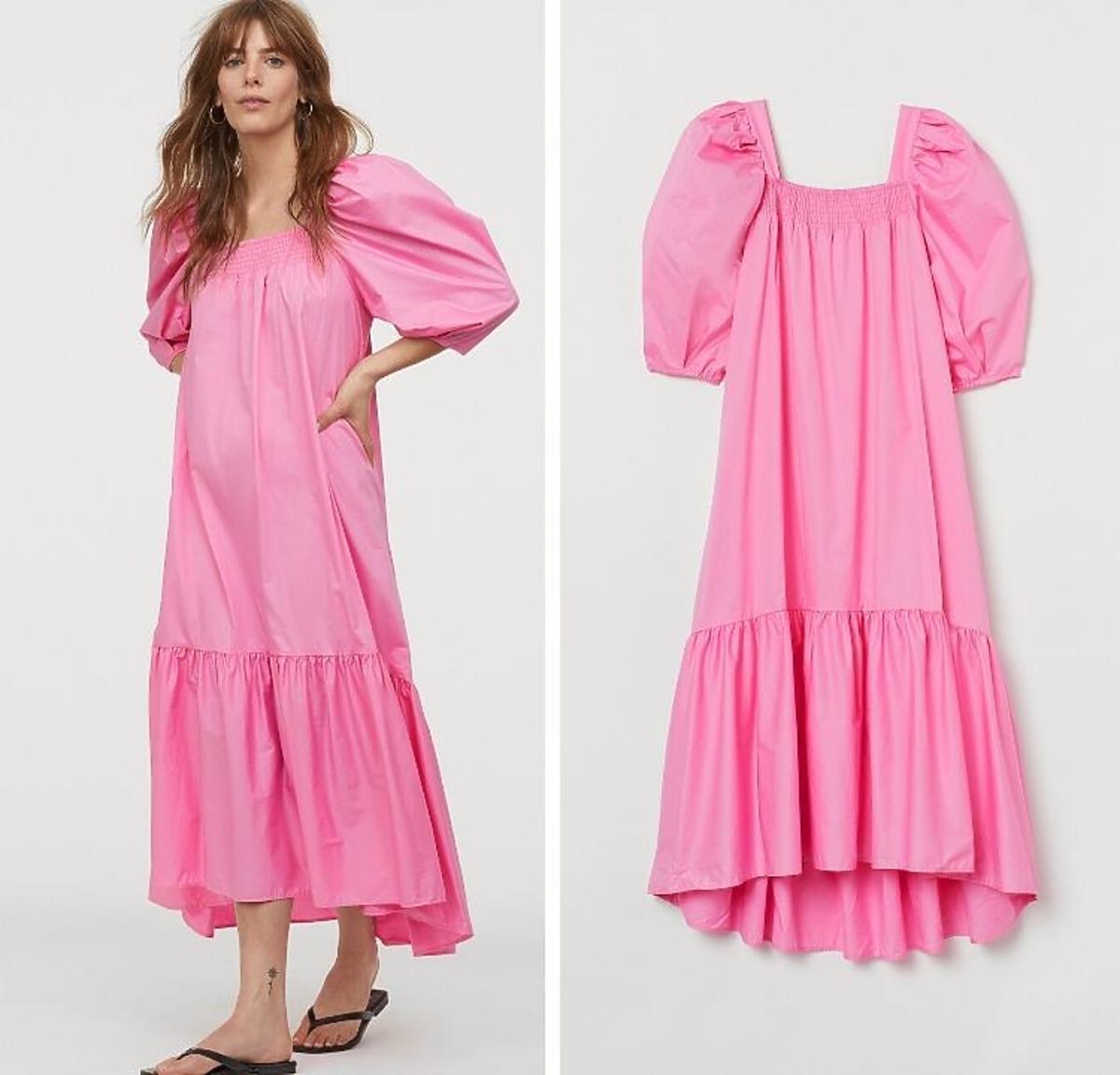 Różowa sukienka z H&M z bufkami