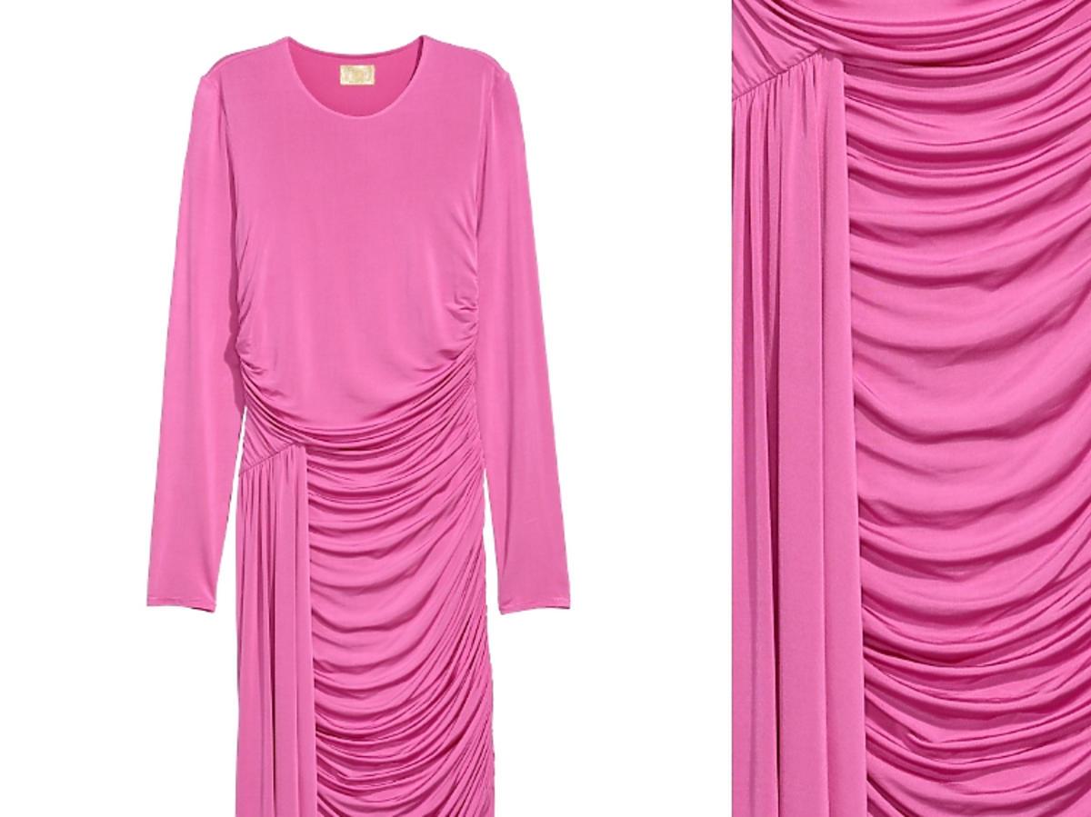 różowa sukienka z marszczeniami H&M