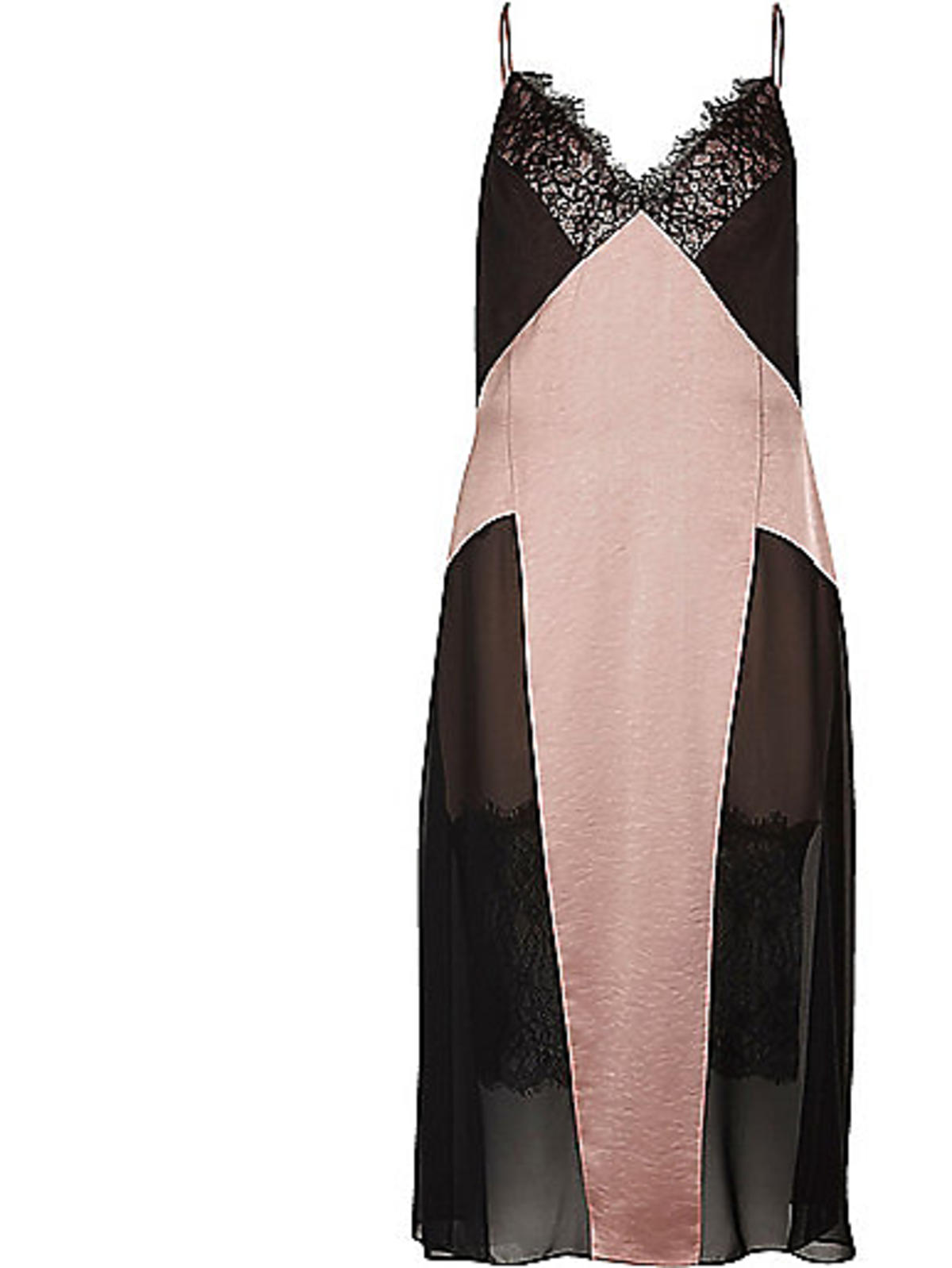 Różowo-czarna sukienka z koronką