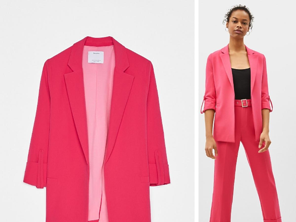 różowy garnitur Bershka