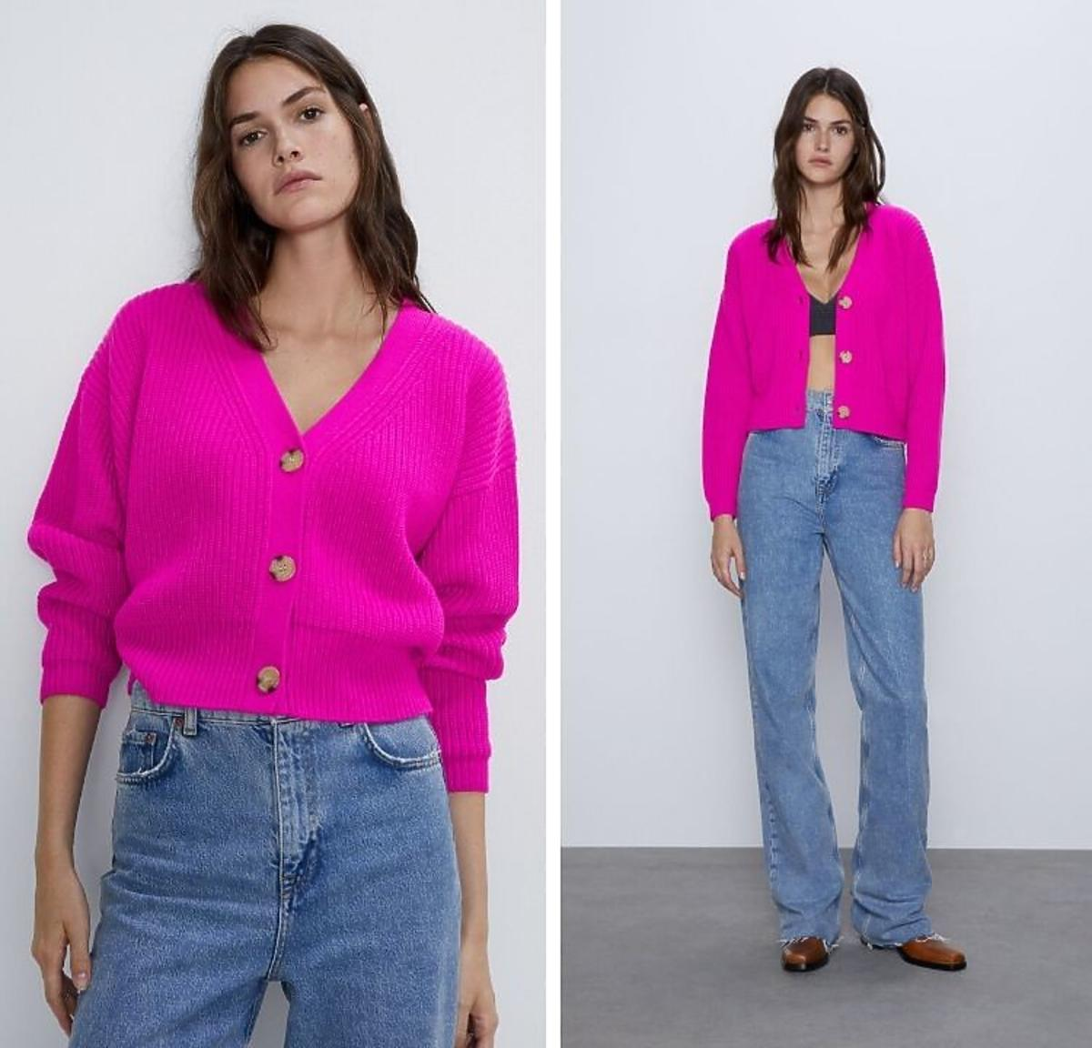 Różowy kardigan Zara
