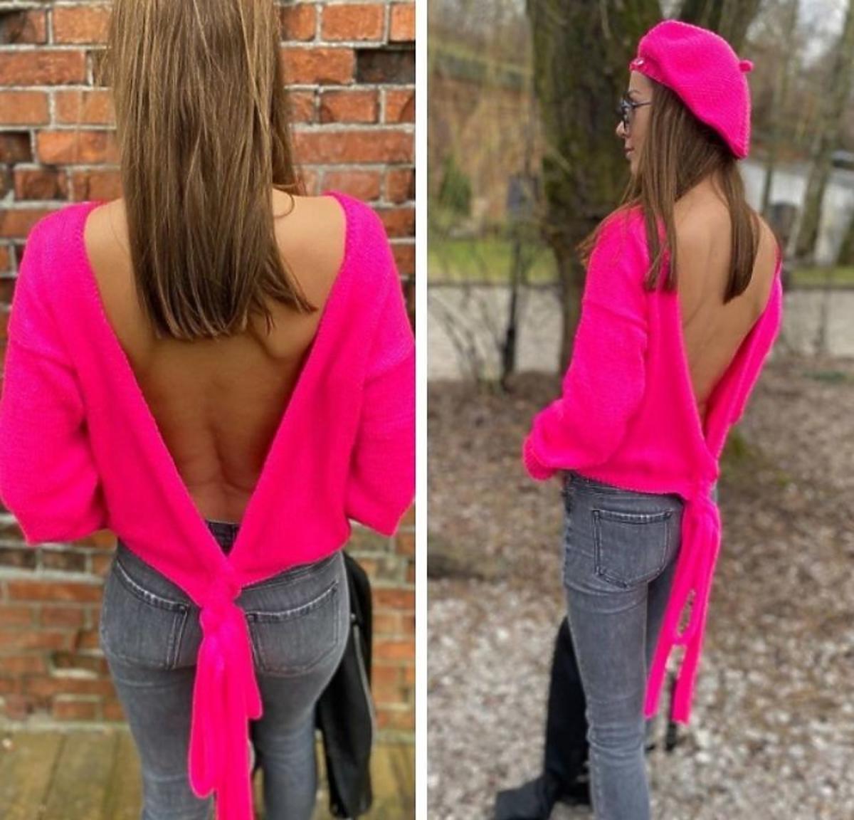 Różowy sweter bez pleców Wool Wear