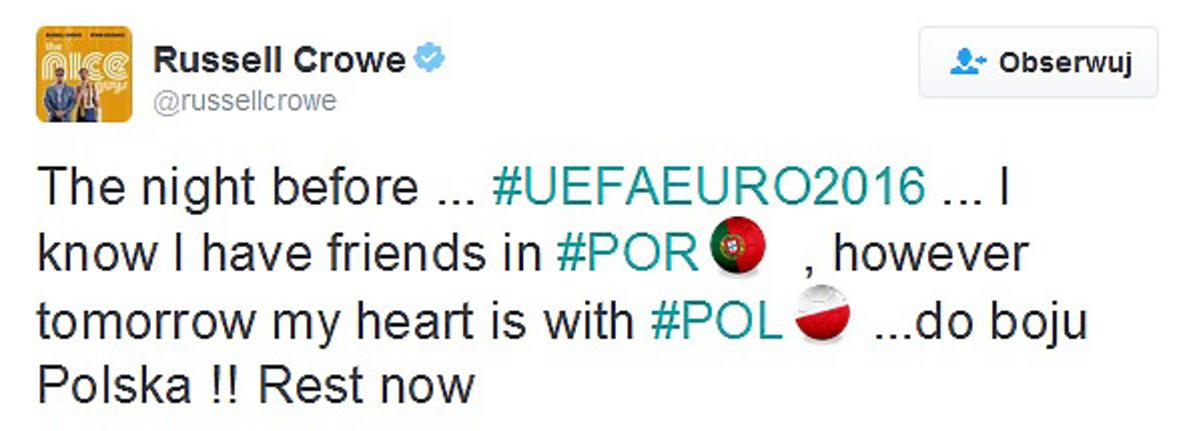 Russell Crowe wspiera Polaków przed meczem z Portugalią