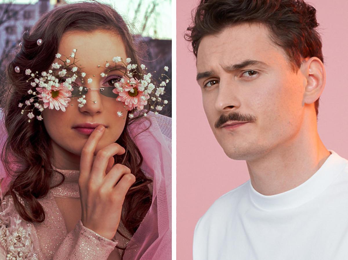 Sanah w okularach z kwiatami i Dawid Podsiadło w białej koszulce