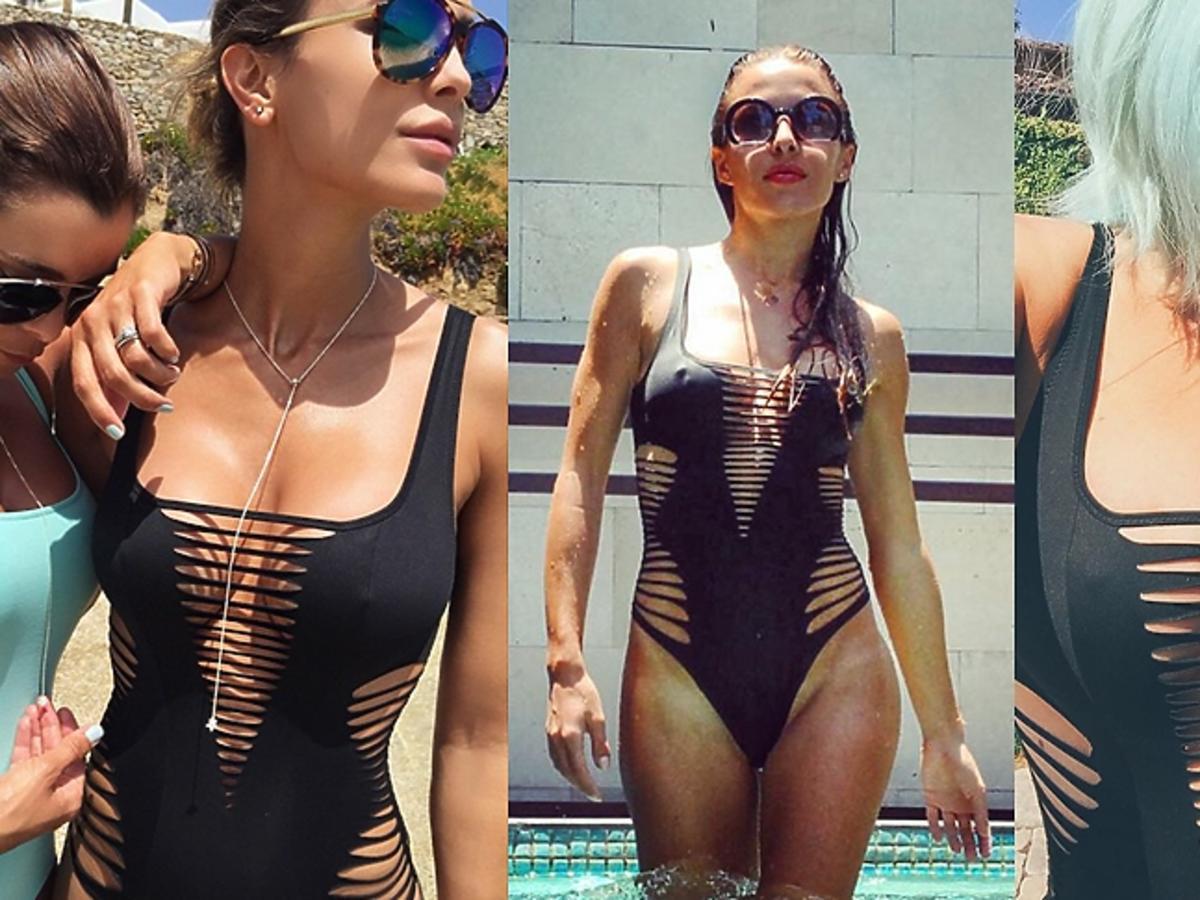 Sara Boruc, Ewa Chodakowska i Kylie Jenner w czarnym kostiumie kąpielowym z wycięciami