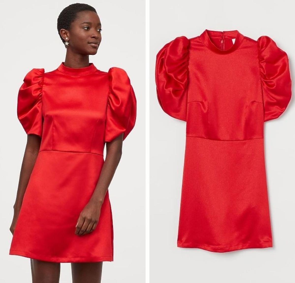 Satynowa czerwona sukienka H&M 39,90