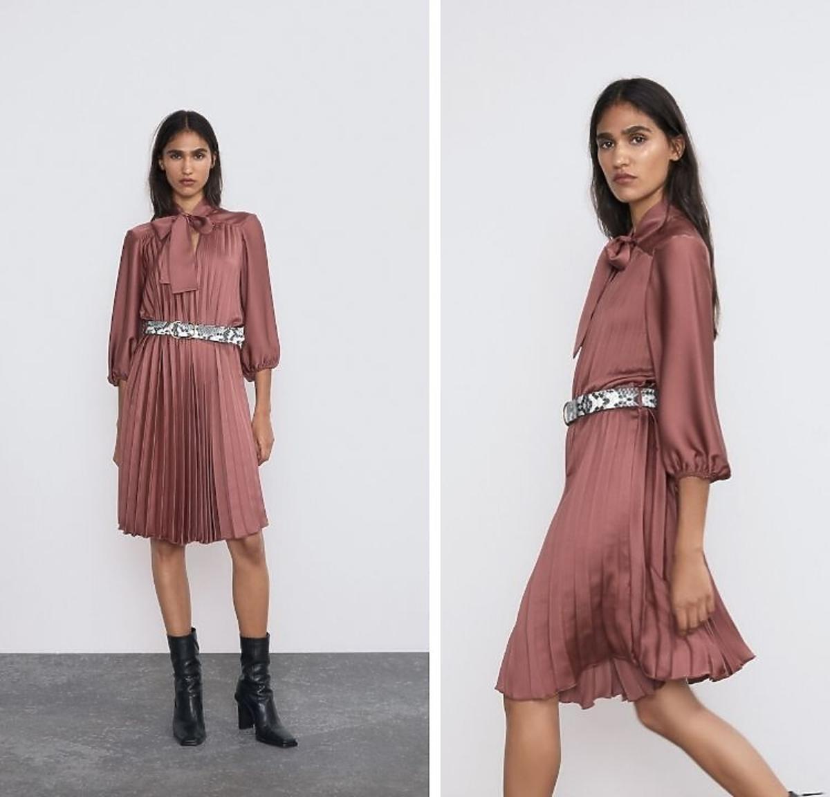 satynowa plisowana sukienka Zara