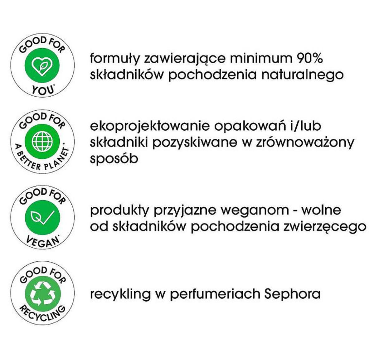 Sephora GOOD FOR - zielone etykiety
