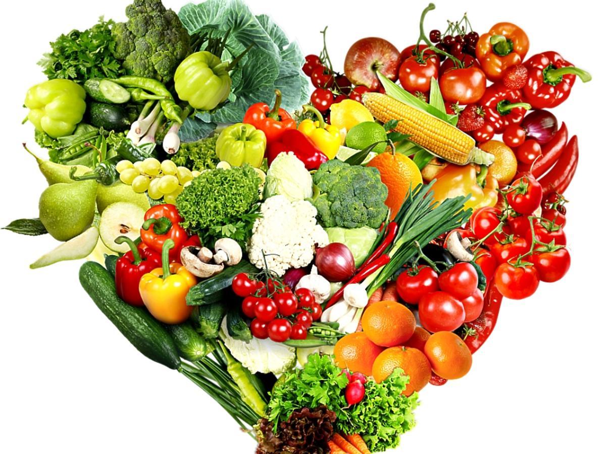 serce z owoców i warzyw
