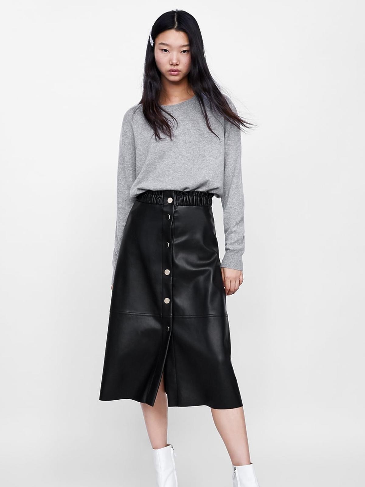 Skórzana spódnica z wiązaniem Zara cena 109 zł