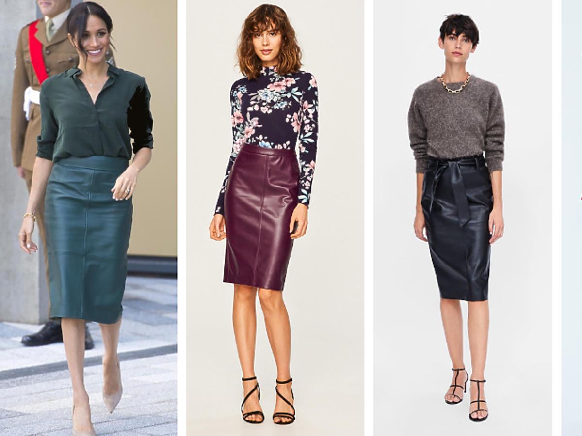 Skórzane spódnice w stylu Meghan Markle