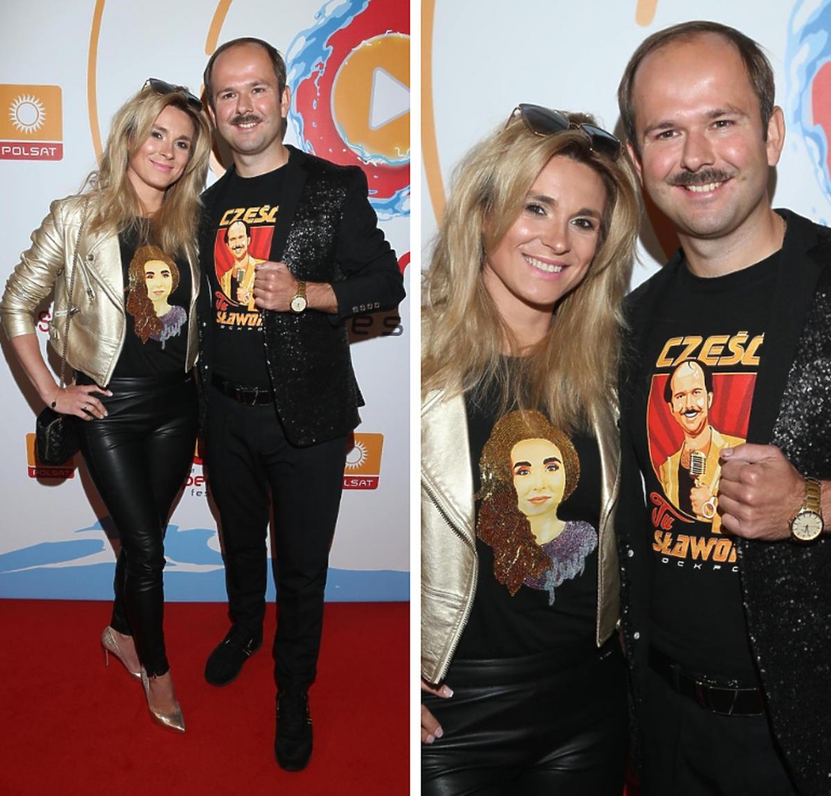 Sławomir i Kajra na konferencji Polsat SuperHit Festiwal 2019