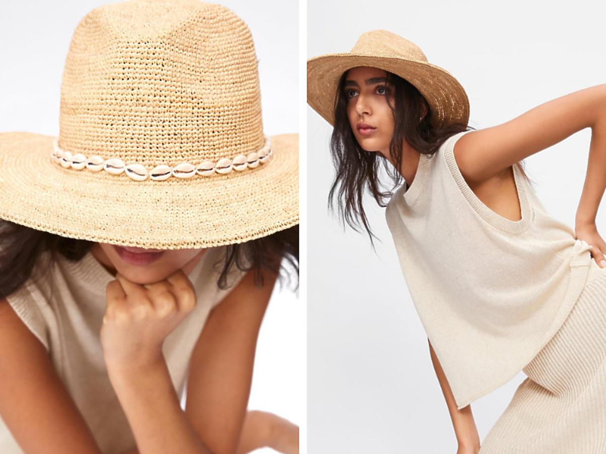 Słomkowy kapelusz z muszelkami z Zary