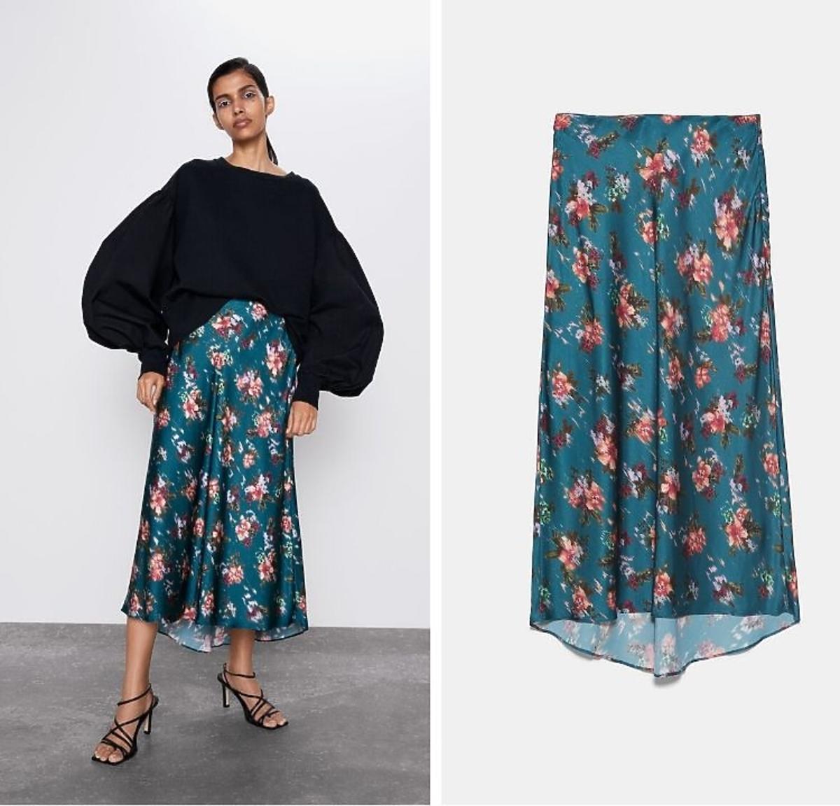 spódnica w kwiaty z wyprzedaż Zara