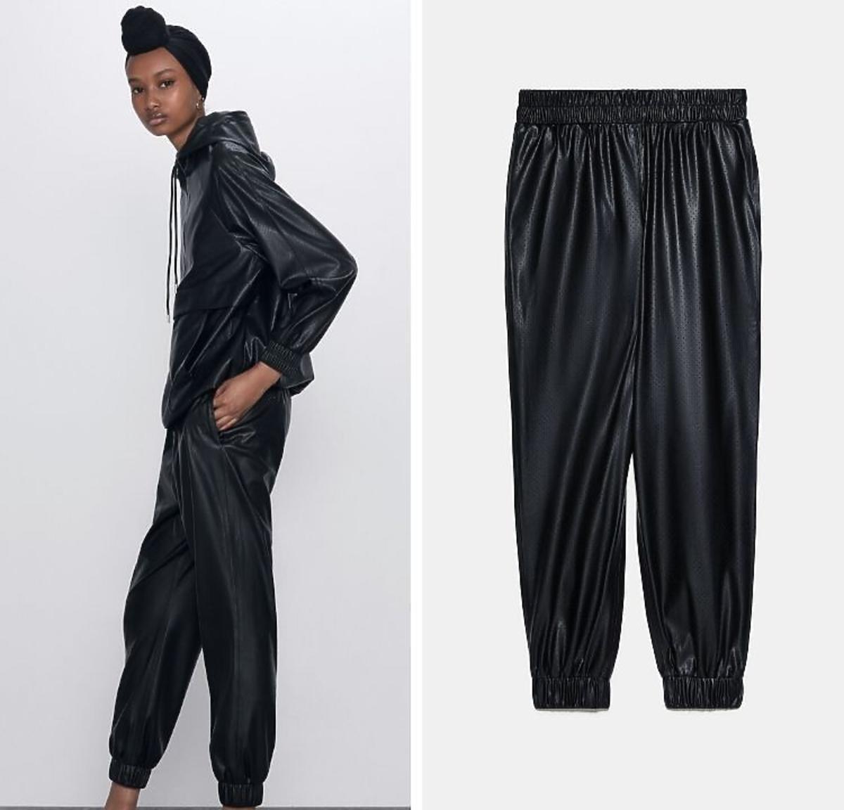 Spodnie joggery z eko skóry Zara