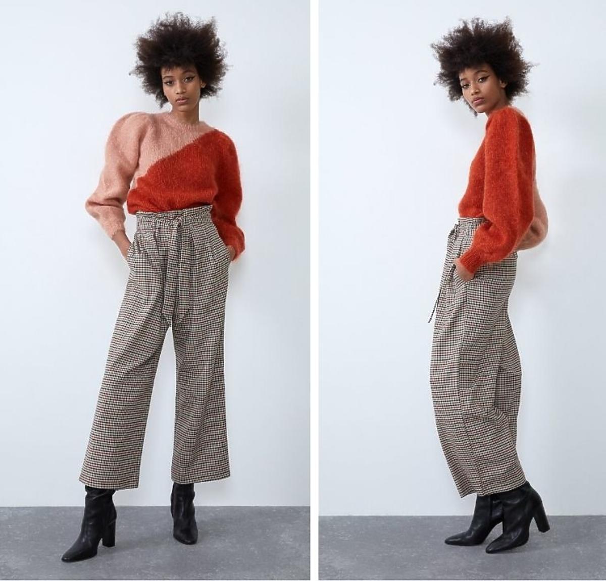 spodnie w kratę Zara z wyprzedaży
