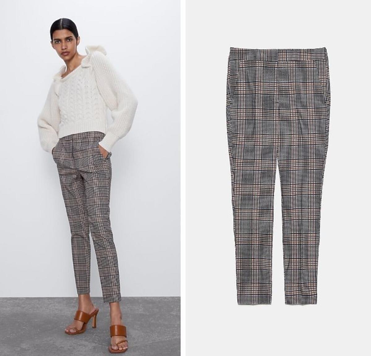 Spodnie w kratkę wyprzedaż Zara