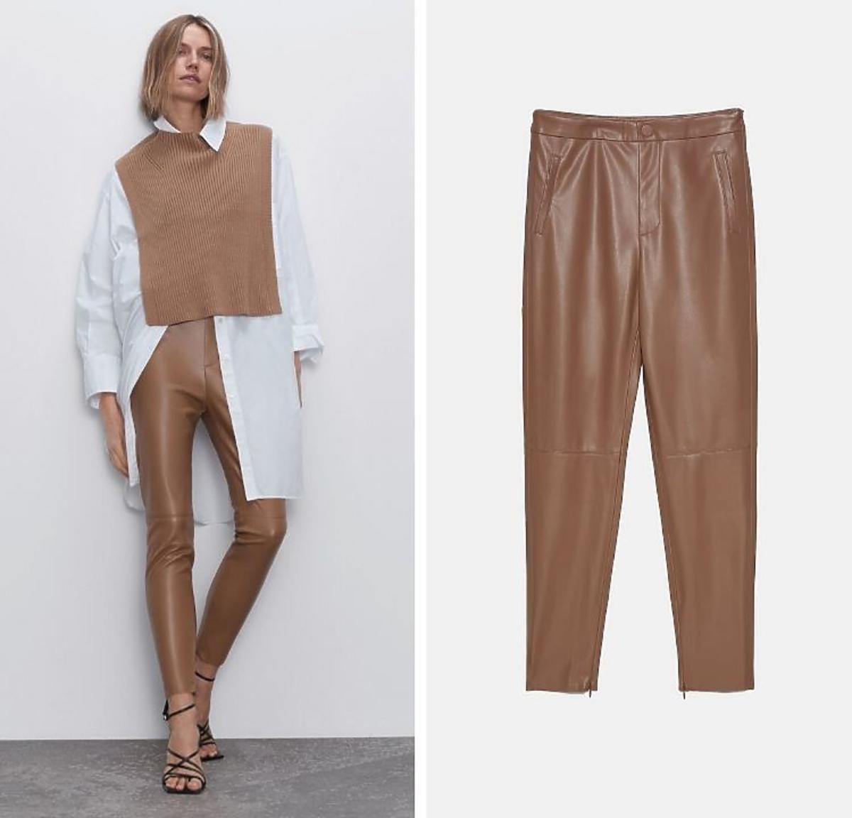 Spodnie z eko skóry beżowe wyprzedaż Zara