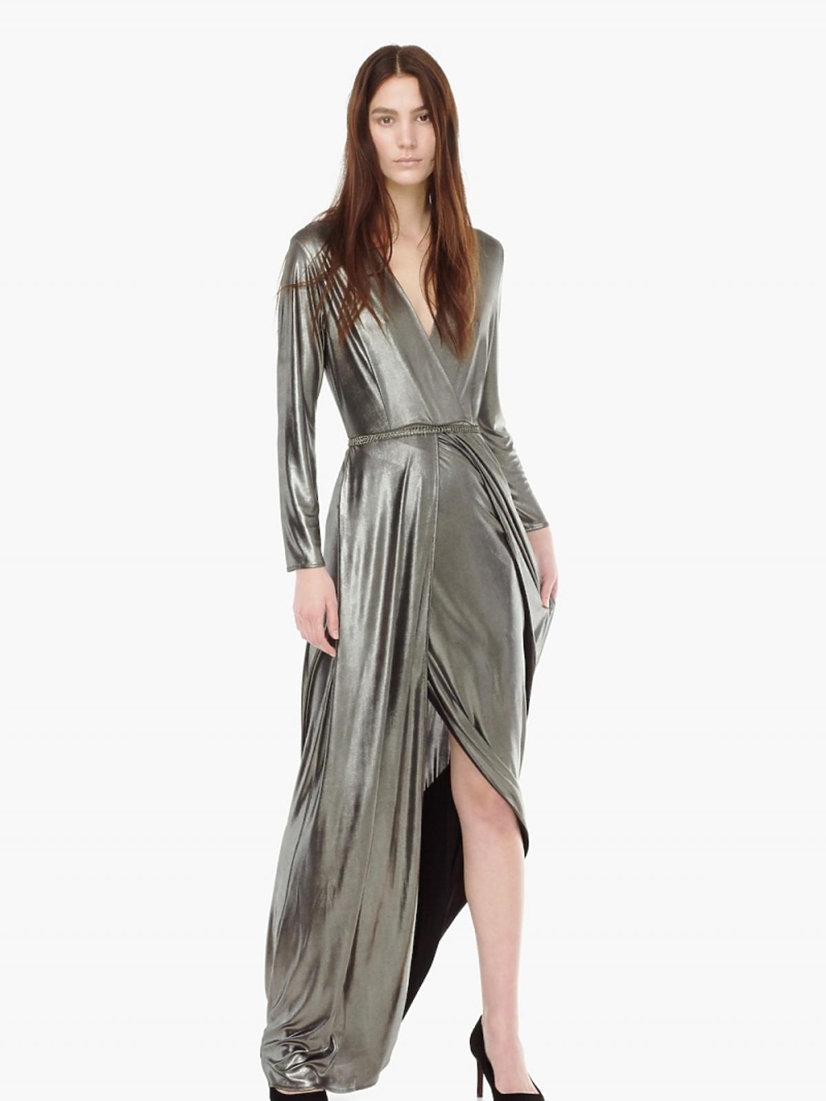 Srebrna kopertowa sukienka Mango 229,90 zł (było: 299 zł)