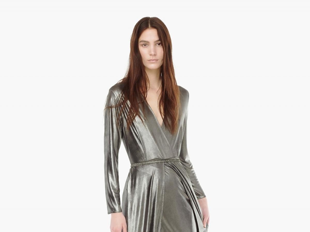 Srebrna kopertowa sukienka długa