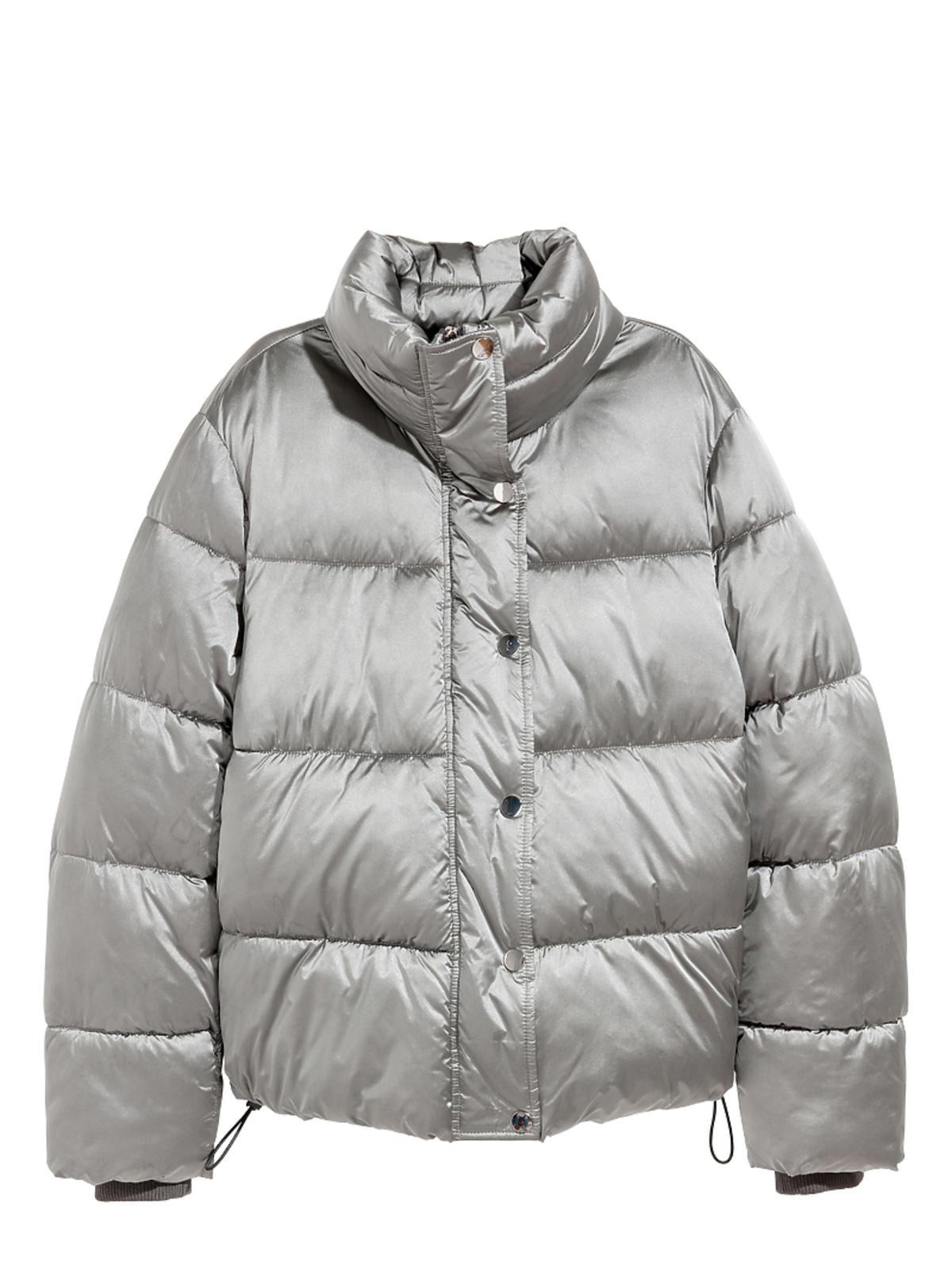 srebrna kurtka puchowa z H&M