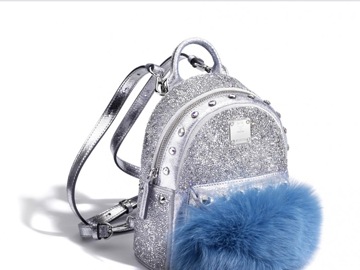 srebrny plecka z niebieskiem futerkiem