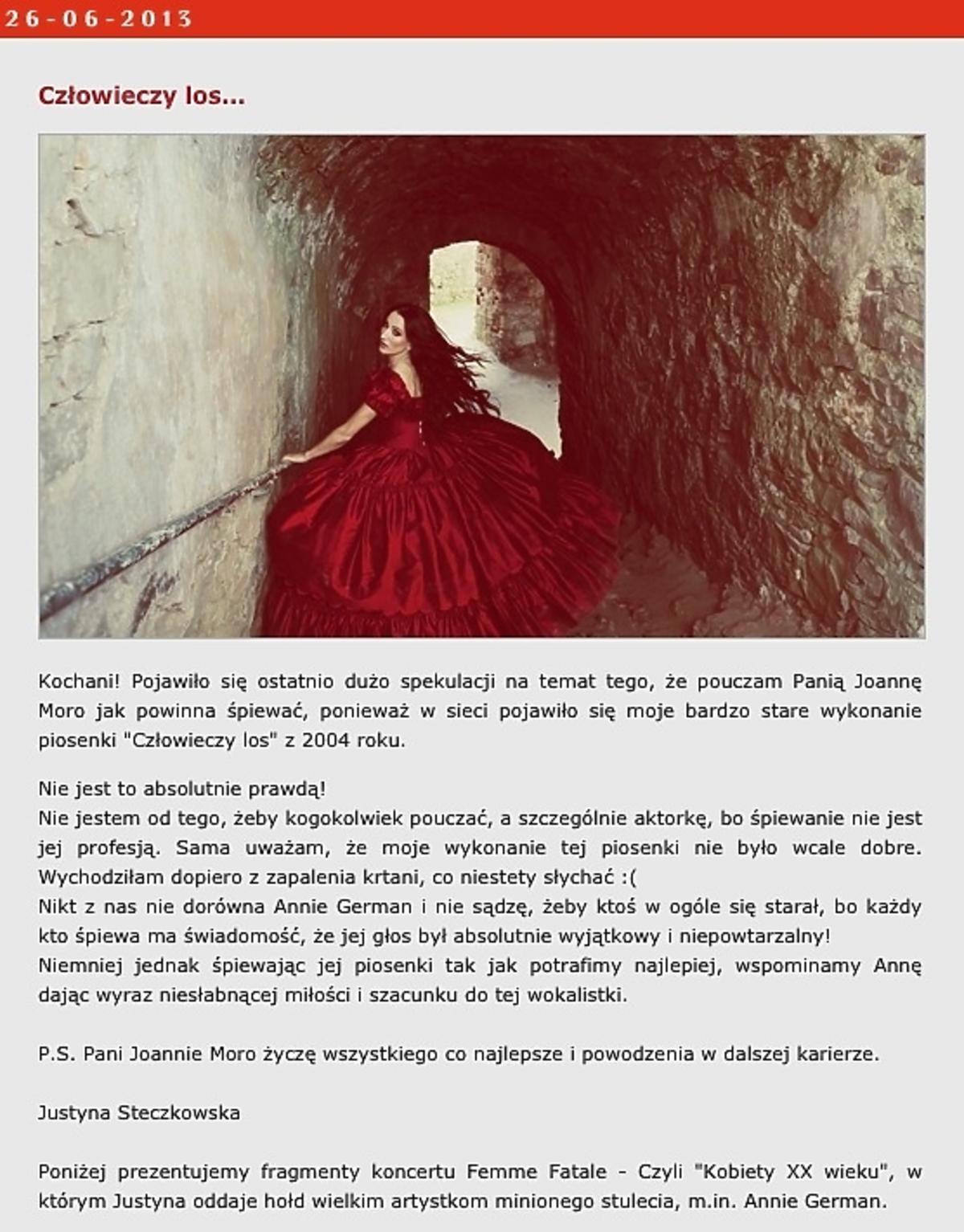 Steczkowska o występie Moro z Opola