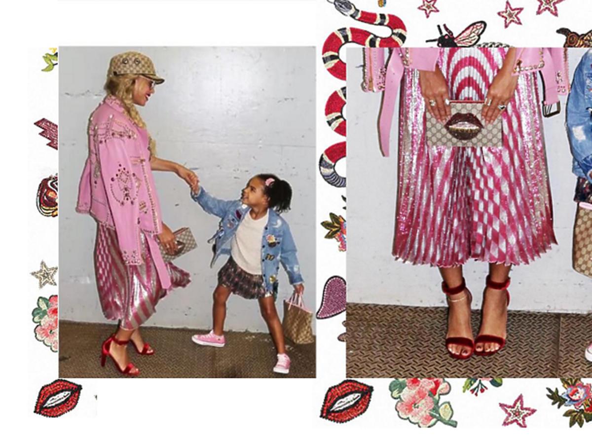 Stylizacje Beyonce i Blue Ivy - różowe, wzorzyste, kolorowe ubrania Gucci