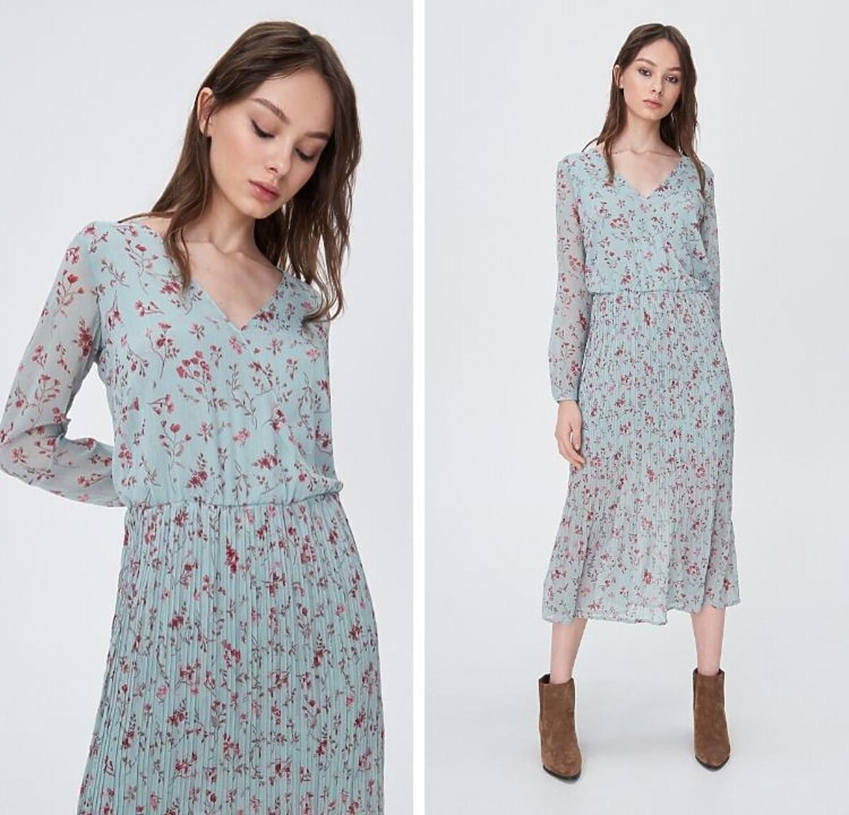 Sukienka błękitna w kwiaty Sinsay