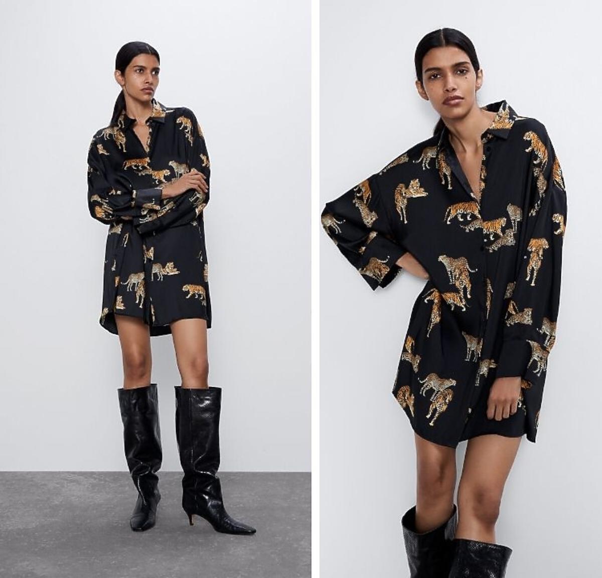 sukienka koszulowa w nadruki Zara